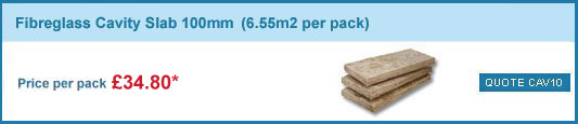 12 packs 100mm fibreglass cavity slabs(6.55m2 pack) only £274.80 +VAT