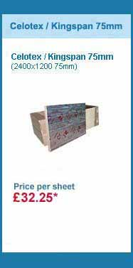 10 sheets 2400x1200x75mm celotex / kingspan insulation for only £274.90 +VAT